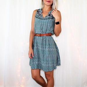 O'Neill Green Floral Print Sleeveless Mini Dress